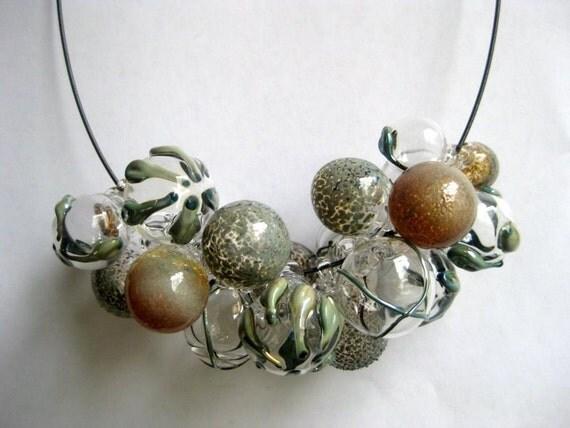 Metallic Textures Glass Bubble Necklace