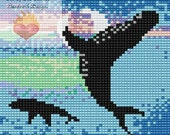Bead Pattern Humpback whale Amulet Loom or Square Stitch