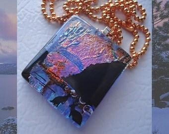 Dichroic Fused Glass Pendant Kangaroo Coast Necklace