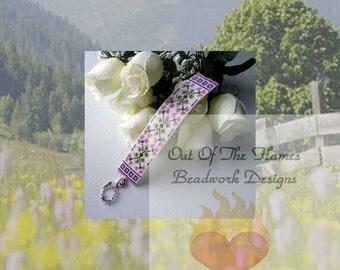 Handwoven Beaded Cuff Bracelet Anna's Garden 7.5 inch