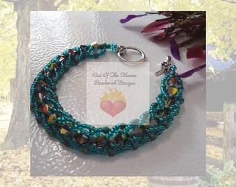 Swarovski Crystal Emerald Flat Spiral Stitch Bracelet 8 Inch