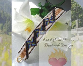 Bead PATTERN Elegant Pinwheel Cuff Bracelet Loom Or Square Stitch