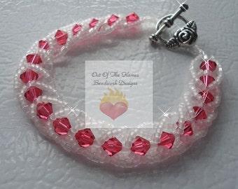 Swarovski crystal Padparadscha and White Flat Spiral Stitch Bracelet