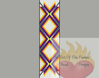 Native American  Color Ribbon Bead Pattern Loom Square Stitch