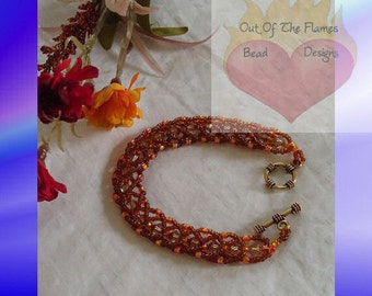Swarovski Crystal Topaz Flat Spiral Stitch Bracelet