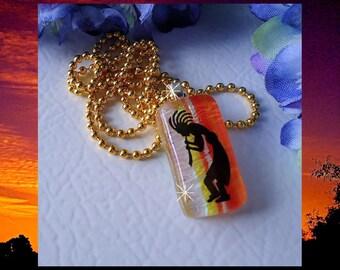 Dichroic Fused Glass Pendant Necklace Koko Hoshi Pelli