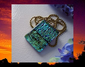 Dichroic Fused Glass Pendant Necklace Blue Green Music Notes