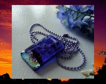 Dichroic Fused Glass Pendant Necklace Ocean Depths