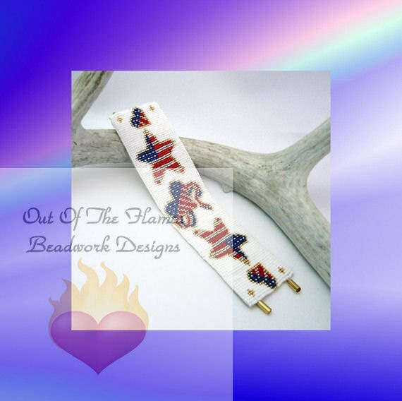 Loom or Square Stitch Bead Pattern USA Red White And Blue Bracelet