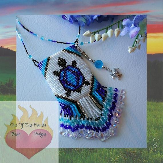 Beaded Amulet Bag Turtle Totem
