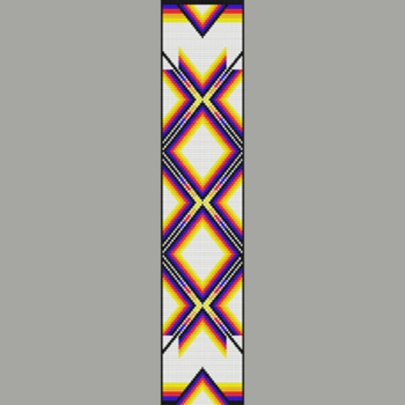 native american color ribbon bead pattern loom square or peyote