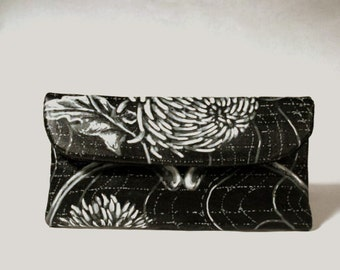 Black and White Chrysanthemum Small Wallet Clutch