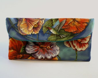 Hummingbird and Hibiscus Small Wallet Clutch