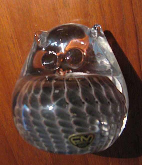 ON SALE FM Marcolin Konstglas Blown Glass Owl Paperweight, Ronneby, Sweden - Feathered Cased Glass Murano style