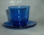 Vintage Beautiful Cobalt Blue Bowl with Attached Under Plate