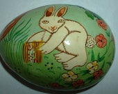 Vintage Egg Shaped Paper Mache Trinket Box