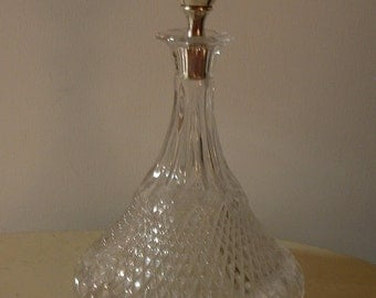 Vintage Heavy Glass Ship   Decanter Bottle with Silverplate Stopper