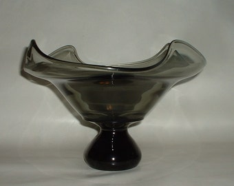 Vintage Heavy Glass Centerpiece Bowl Compote