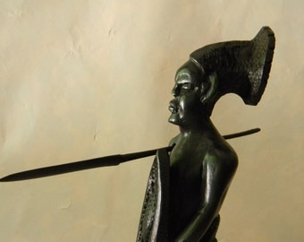 "Vintage Wood Carved 11 1/16"" Tall Sculpture Warrior with Spear"