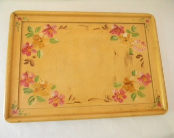 Vintage Wood Lefkow-King Hand Painted Wood Tray