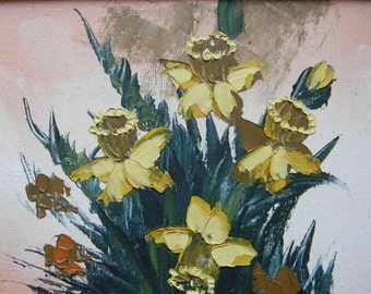Vintage Oil Painting on Canvas Still Life Daffodils