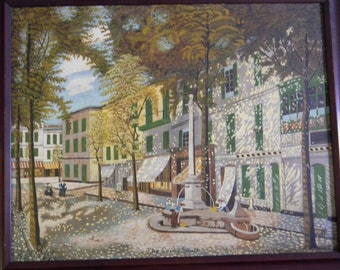 "John Cathcart . Vintage 16"" x 20""  1938 Oil Painting City Street"