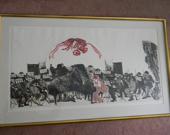"Swanson . signed .  41"" wide Wood Block print. Symphony Orchestra . 9/20"