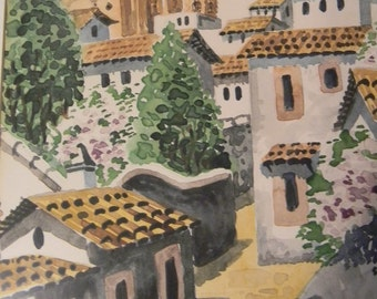 Vintage Watercolor Painting Village Scene , signed