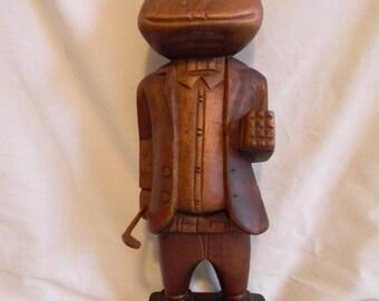 """Vintage 14""""  Frog Man Golfer Wood Carved Carving Sculpture"""