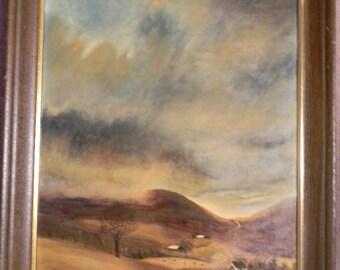 """Ed Wolff . Vintage 28"""" x 22"""" Framed Oil Painting Landscape"""