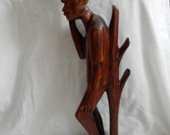 "Vintage 19 1/2"" tall Wood Carved Figural Carving Sculpture"