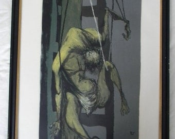 Benton Murdoch Spruance (1904-1967) listed artist . Black Friday. signed  Lithograph limited edition