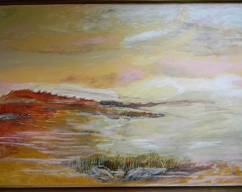 """Pat Kretchmer . 40"""" x 28"""" Framed Oil on Canvas Seascape Painting"""