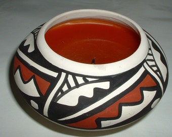 Signed by Artist . Vintage Southwest Native American Indian Candle
