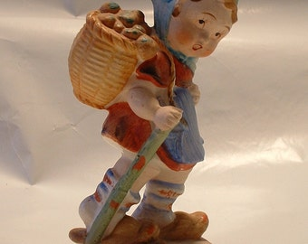 Vintage Porcelain Hummel-Like Figurine Child with Walking Stick