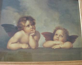 Vintage Sistine Madonna Child Angels reproduction print ... Raphael (1483-1520)