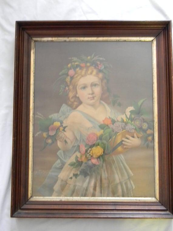 "Vintage 17"" x 22"" Chromolithograph Girl Child in deep Walnut Frame"