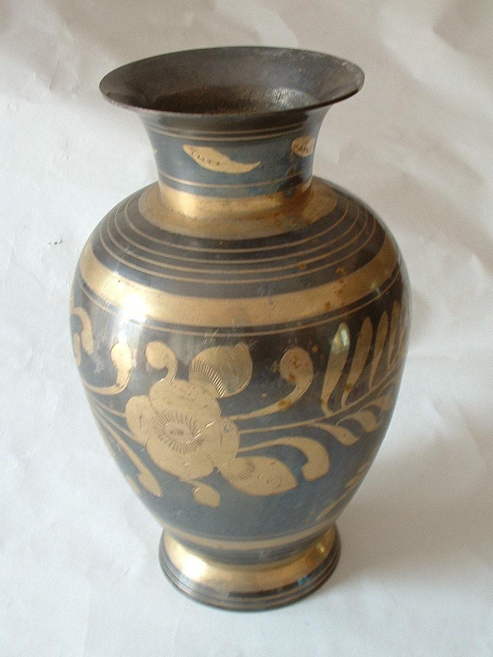 Vintage 9 Inch Tall Brass Vase Urn By Gemsoftimevintage On Etsy