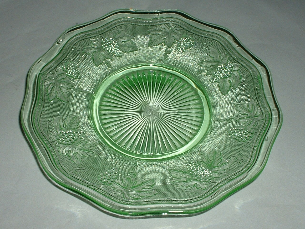 Vintage Green Depression Glass Plate With Grapes Pattern