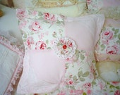Shabby  R.Ashwell ROSALIE Pink  Roses Patchwork  Venice  Lace Unique  Pillow case