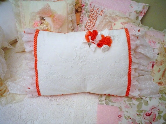 Red Romantic chic Pillow Eyelet Lace ruffle,satin HM.rose bouquet,Vintage white hand embroidery