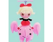 pink elephant doll print aceo size ELECOPTER
