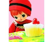 doll cupcake print 5 x 7 Well Maybe Just a Nibble