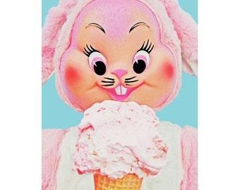 bunny ice cream print 5 x 7 BUN AND JERRY'S