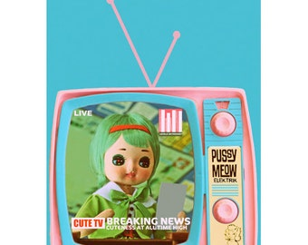 retro tv doll print 5 x 7 CUTE TV