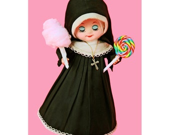 nun doll print 8 x 12 SINFULLY SWEET