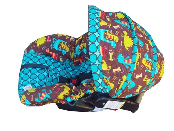 dino dudes infant car seat cover made to order for by sassystork. Black Bedroom Furniture Sets. Home Design Ideas