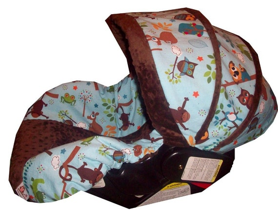 Hooty Hoot and brown minky infant car seat cover made to order for your infant car seat
