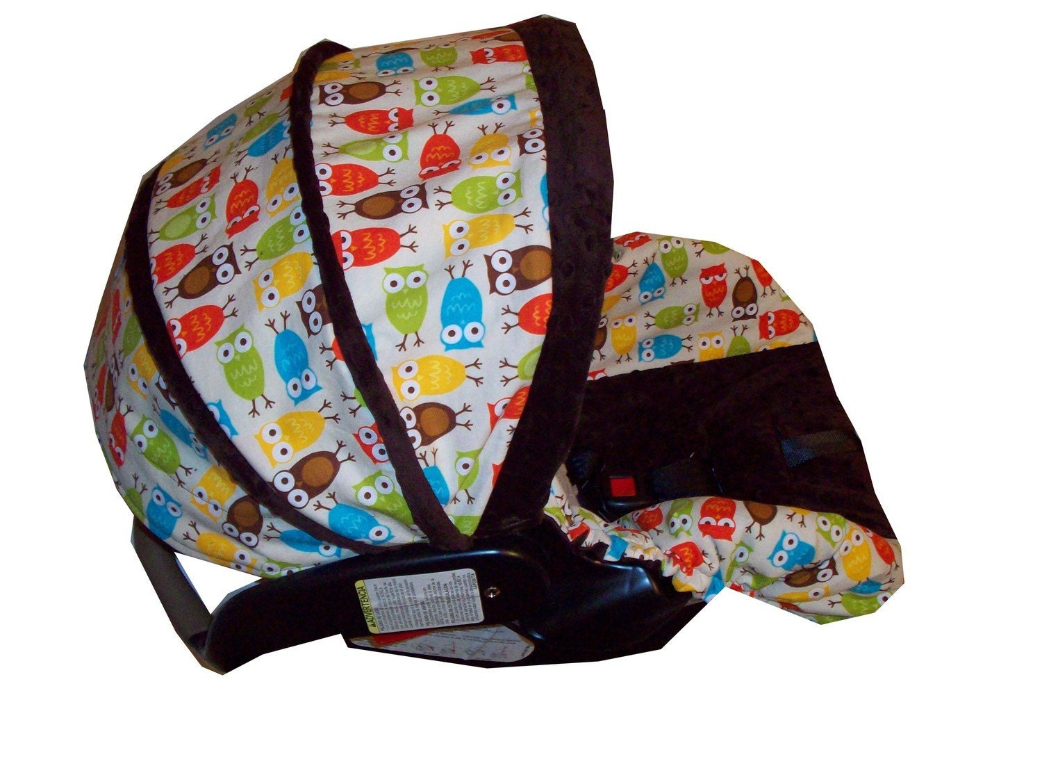 infant car seat cover in owls by robert kaufman with minky dot. Black Bedroom Furniture Sets. Home Design Ideas