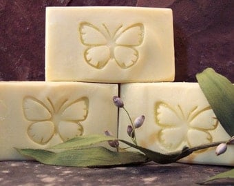 Castile Handmade Soap Pure Organic Olive Oil Unscented White with Butterfly